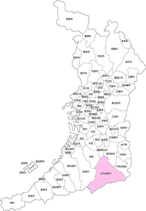 河内長野市の古本買取LP買取はBOOKS CHANNEL の地図画像