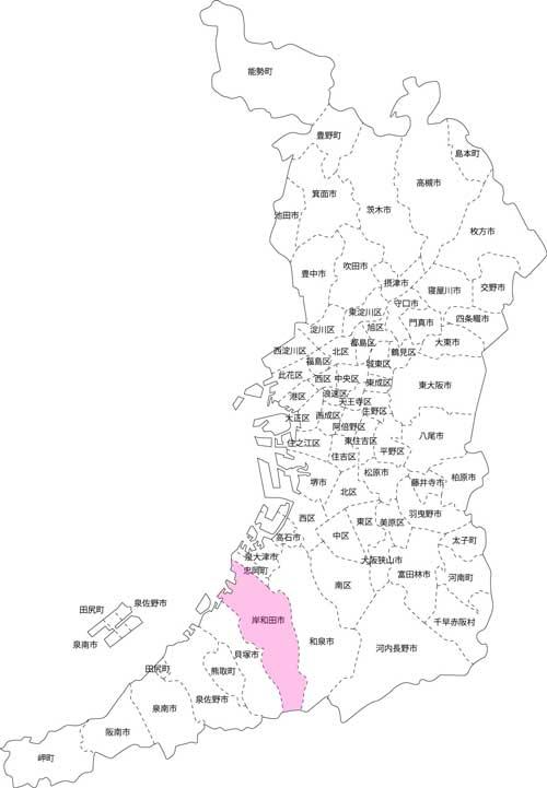 岸和田市の古本買取LP買取はBOOKS CHANNEL の地図画像