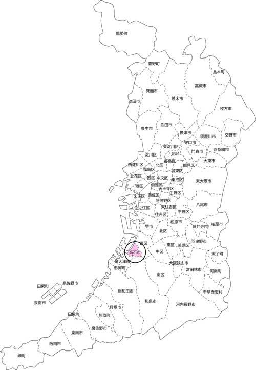 高石市の古本買取LP買取はBOOKS CHANNEL の地図画像